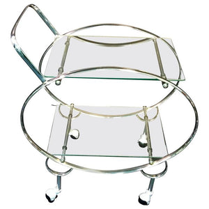 Elegant Art Deco Chrome Oval Tubular Design Double Tier Bar Cart