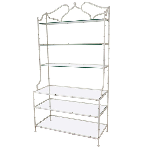 Elegant Hollywood Regency Enameled Faux Bamboo Etagere