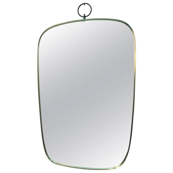 Elegant Italian Designer Brass Wall Mirror in the Manner of Gio Ponti