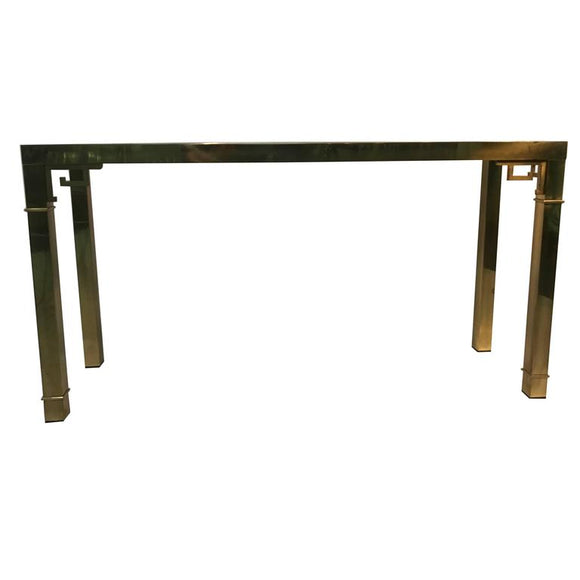 Elegant Italian Solid Brass Console Table with Greek Key Design