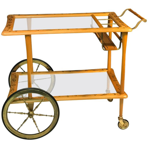 Elegant Italian Wooden Bar Cart with Beautiful Hand-Painted Design