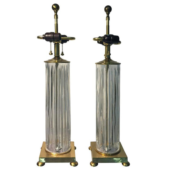 Elegant Pair of Fluted Glass Table Lamps by Koch and Lowy, circa 1970
