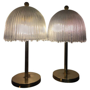 Elegant Pair of French Tulip Shade Table Lamps in the Manner of Rene Lalique