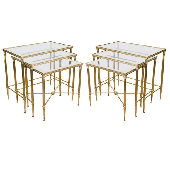 Elegant Pair of Italian Mirrored Nesting Tables