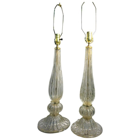 Elegant Pair of Seguso Murano Glass Gold Leaf Bullicante Glass Table Lamps