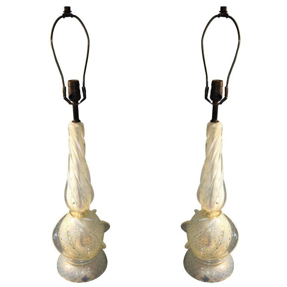Elegant Pair of Seguso Swirled Opal and Gold Dotted Murano Lamps