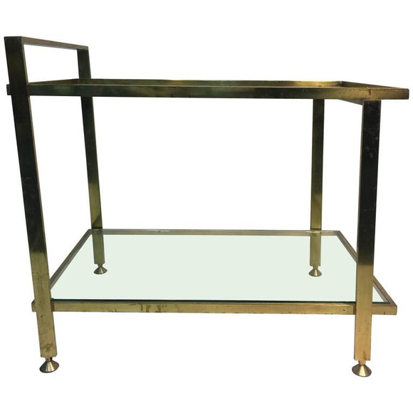 Elegant Two-Tier Italian Brass Bar Cart