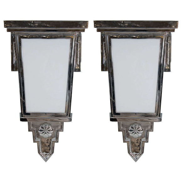 Exceptional Art Deco Pair of Nickled Bronze Wall Sconces