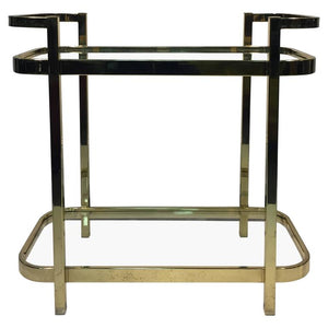 Exceptional Brass Bar Cart by Milo Baughman