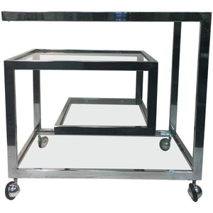 Exceptional Chrome Tea Cart with Geometric Design, style of Milo Baughman