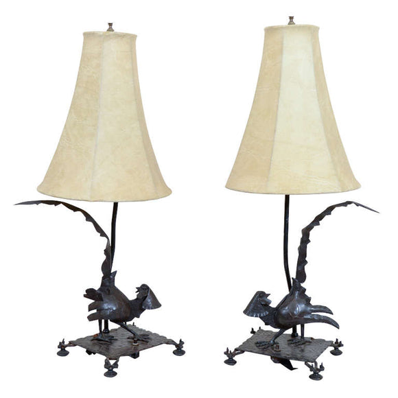Exceptional Edgar Brandt Pair of Art Deco Pheasant Form Table Lamps