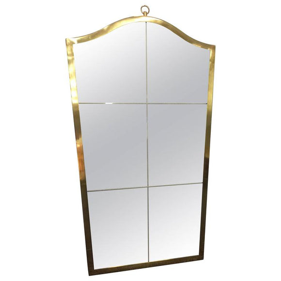 Exceptional Etched Wall Mirror with Brass Frame in the Style of Maison Baguès