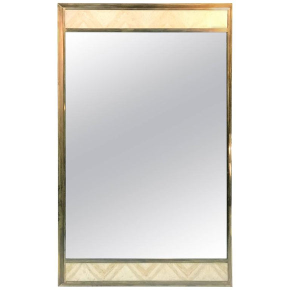 Exceptional Gio Ponti Style Italian Modern Travertine & Brass Rectangular Mirror