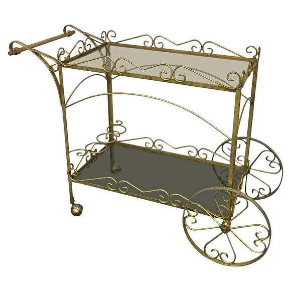 Exceptional Italian Two- Tier Brass Bar or Tea Cart