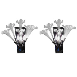 Exceptional Pair of 1970s Modernist Murano Glass Flower Form Sconces