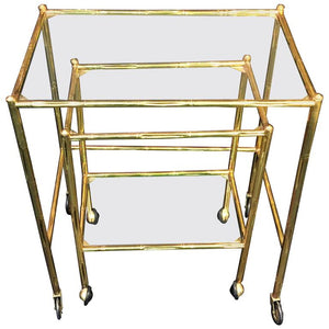 Exceptional Pair of Baques Brass Bamboo Nesting Tables on Wheels