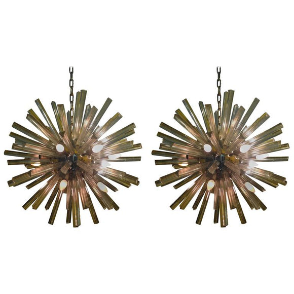 Exceptional Pair of Giant Murano Glass Sputnik Chandeliers