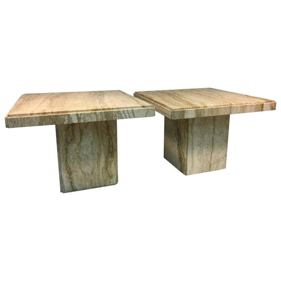 Exceptional Pair of Italian End or Side Tables in Beautiful Travertine