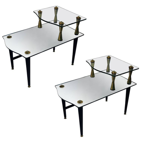 Exceptional Pair of Modernist Brass, Mirror and Glass Double Tier Tables