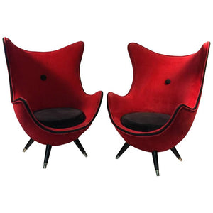 Exceptional Pair of Modernist Red/Black Lounge Chairs Atrributed to Jean Royere