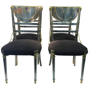 Exceptional Set of Four Steel Dining Chairs with Brass Accents by Maison Jansen