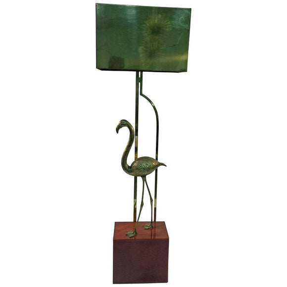 Exceptional Signed Curtis Jere Brass Flamingo Sculptural Floor Lamp