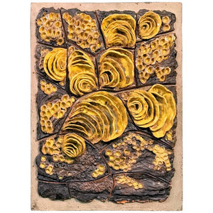 Exceptional Signed Yellow/Brown Glazed Terracotta Wall Sculpture Titled Fungus