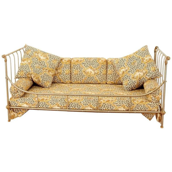 Exceptional Steel and Brass French Daybed by Maison Jansen with Fine Details
