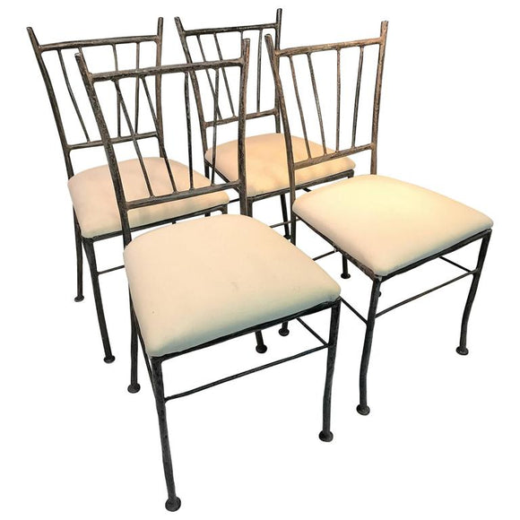 Exceptional Suite of Four Sculptural Iron Chairs in the Manner of Giacometti