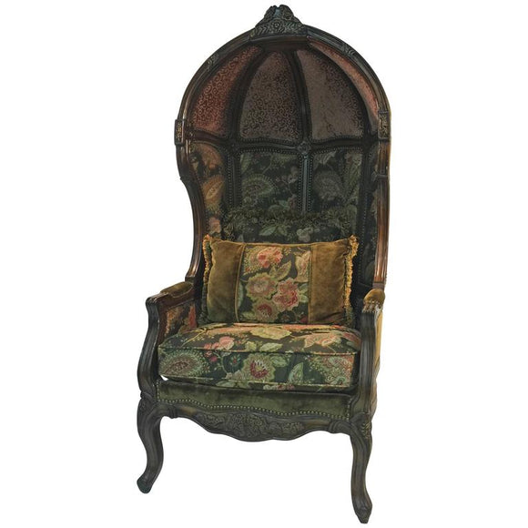 Exceptional Vintage Canopy Chair with Floral Accents, circa 1970