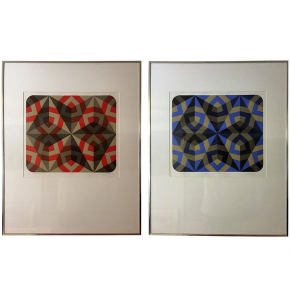 Exciting Pair of Signed Colorful Hexagonal Silkscreens in Manner of Vasarely
