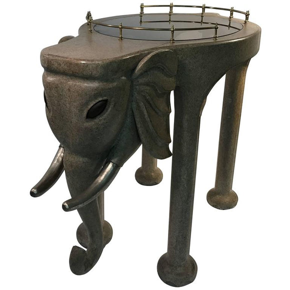 Exquisite and Rare Elephant Bar Cart by Marge Carson