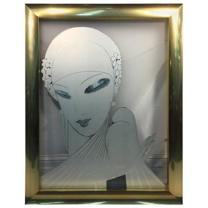 Fabulous Art Deco Revival Painting on Glass of a Glamorous Flapper and Dove