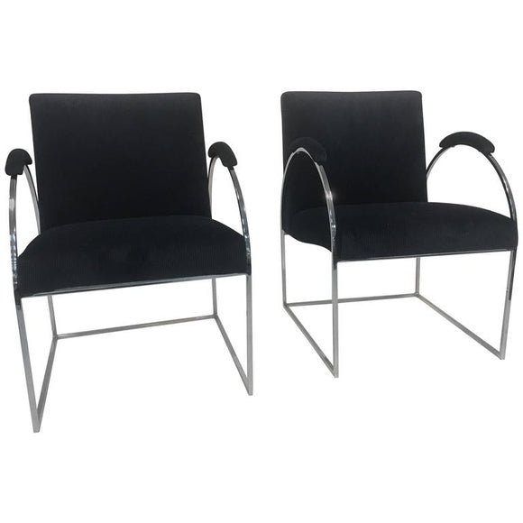 Fabulous Pair of Chrome Chairs by Milo Baughman in Rich Velvet Fabric
