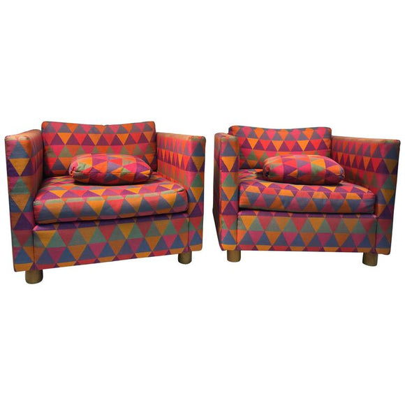 Fabulous Pair of Club Chairs Attributed to Harvey Probber in Larsen Fabric