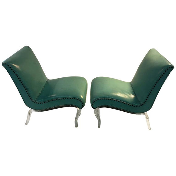 Fabulous Pair of Grosfeld House Lucite Lounge Chairs by Lorin Jackson