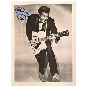 Fantastic Autographed Black and White Chuck Berry Photograph
