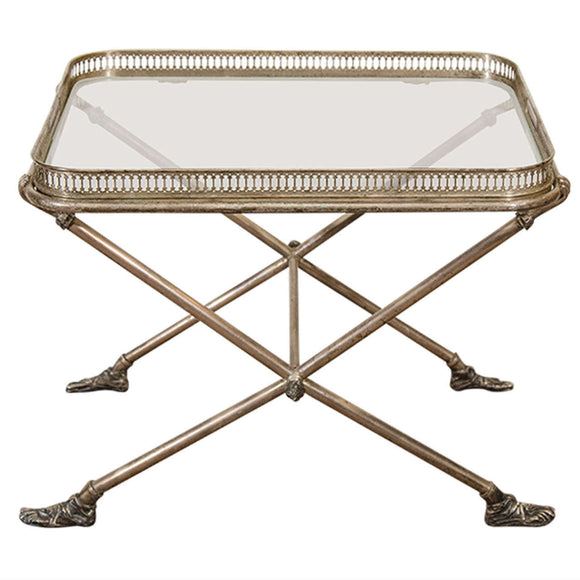 Fantastic Figural Italian Silvered Bronze and Glass Tray Table