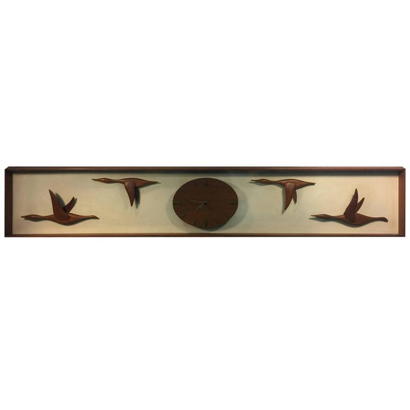 Fantastic Mid-Century Modern Hand-Sculpted Geese in Flight Wall Clock
