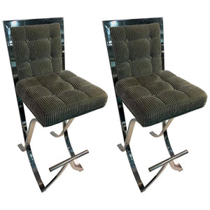 Fantastic Pair of Milo Baughman Chrome Modernist X-Base Bar Stools