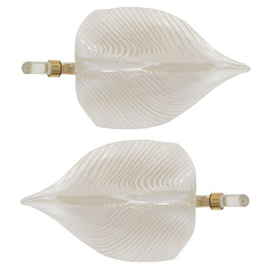 Fantastic Pair of Modernistic Handblown Venini Murano Glass Leaf Sconces