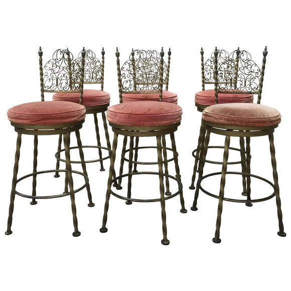 Fantastic Set of Six Mastercraft Bronzed Iron Swivel Stools, circa 1960