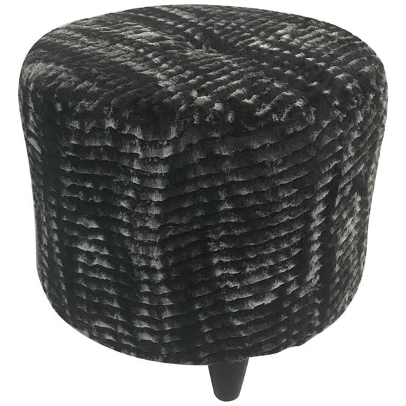 Fantastic Stool in the Style of Jean Royère in a Faux Chinchilla Print Fur