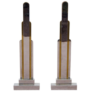 French Art Deco Pair of Bronze Skyscraper Form Andirons by Jules Buoy