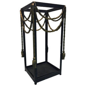 Glamorous Italian Iron Umbrella Stand with Gilded Tassels
