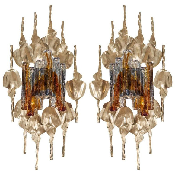 Gorgeous Brutalist Pair of Murano Glass Gilt Metal Wall Sconces