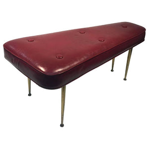 Gorgeous Italian Burgundy Color Bench with Brass Legs in the Manner of Gio Ponti