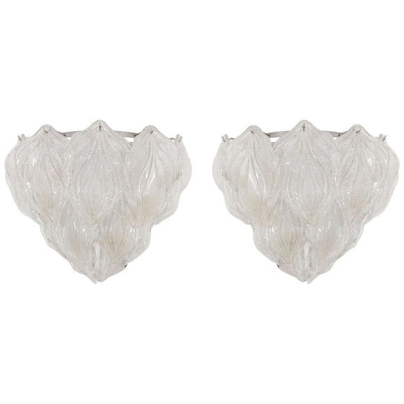 Gorgeous Pair of Camer Murano Glass Leaf Sconces