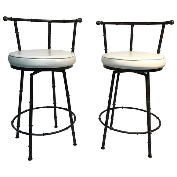 Gorgeous Pair of Giacometti Style Faux Bamboo Bar Stools