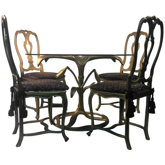 Great Arthur Court Gilded Tiger Lily Dining Table with Four Chairs
